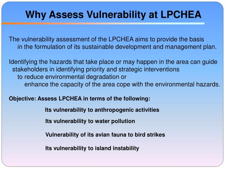 Why assess vulnerability at lpchea