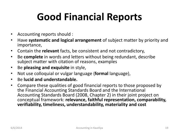 Good Financial Reports