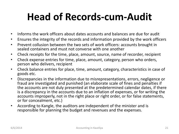 Head of Records-cum-Audit