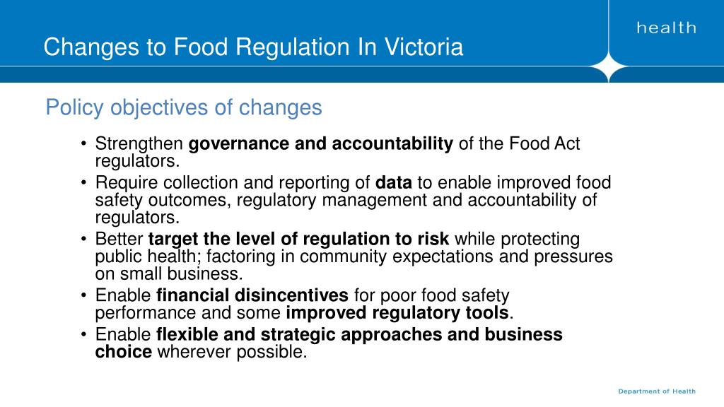 PPT - Changes to Food Regulation In Victoria PowerPoint
