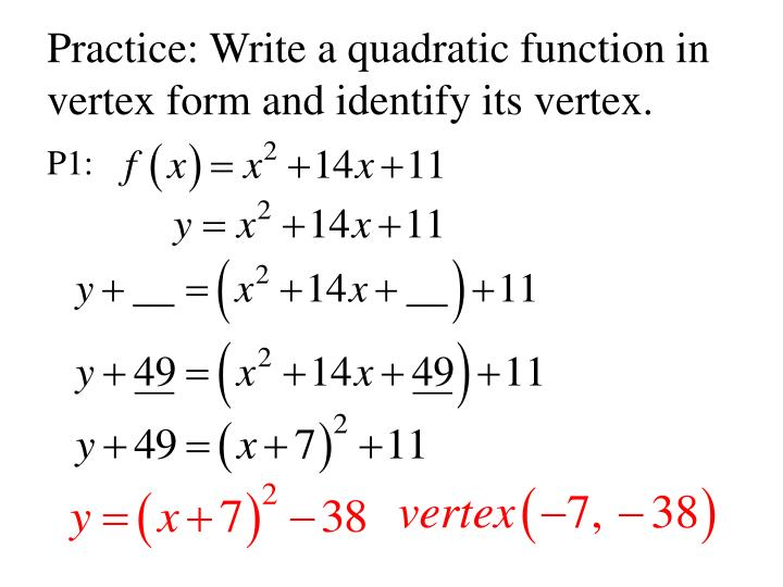write in vertex form Write the standard form equation for a vertical or horizontal parabola calculate the vertex and the focus point of a parabola to unlock this lesson you must be a studycom member.