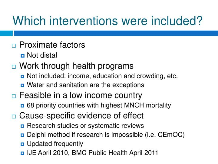 Which interventions were included?