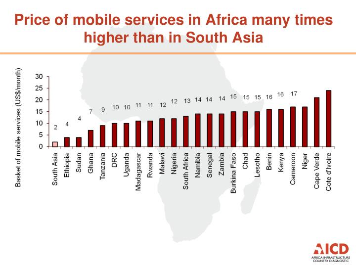 Price of mobile services in Africa many times higher than in South Asia