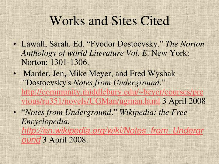 Works and Sites Cited