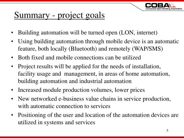 Summary - project goals