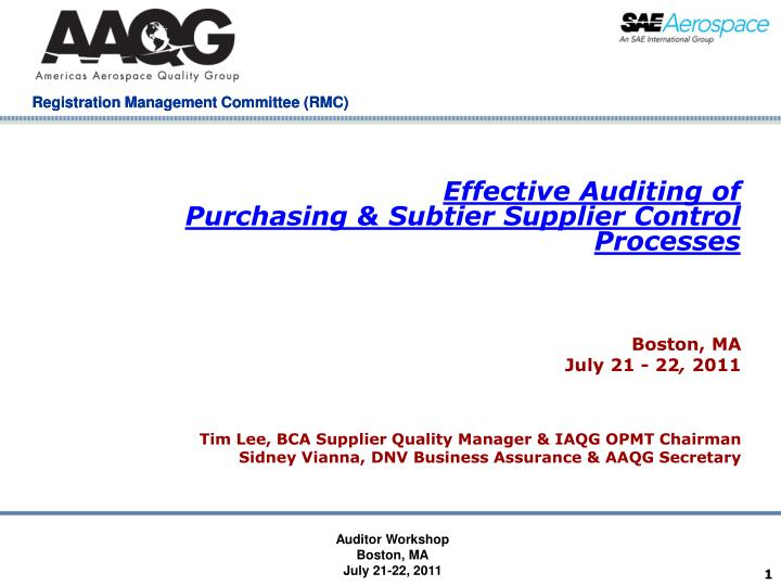 effective auditing of purchasing subtier supplier control processes n.