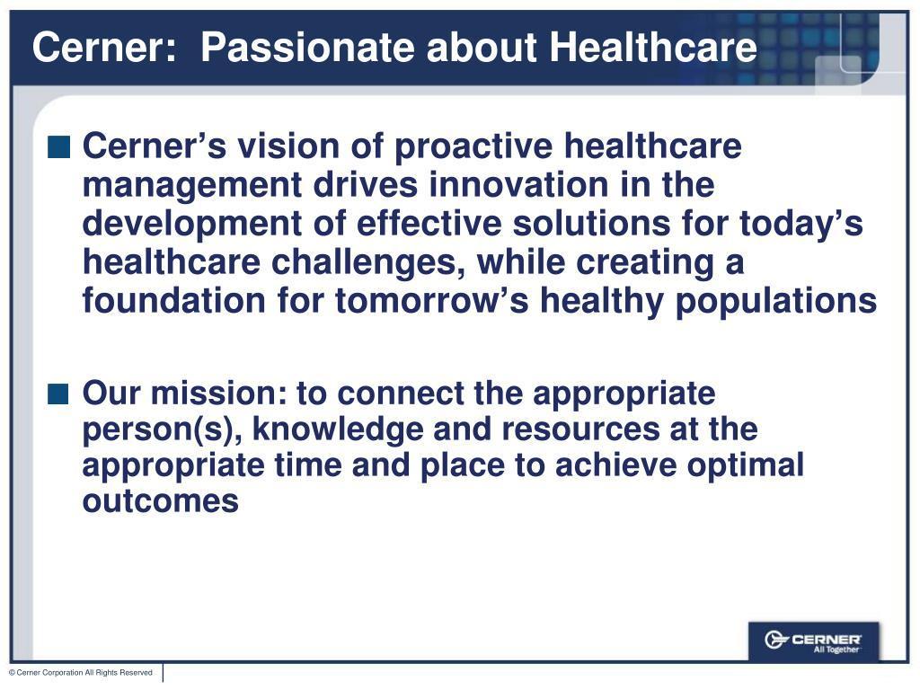 PPT - Cerner Corporation Overview PowerPoint Presentation