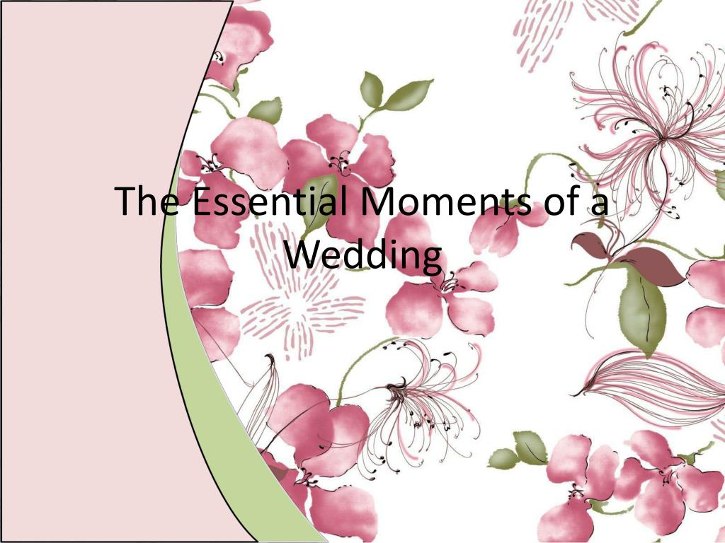 the essential moments of a wedding l.