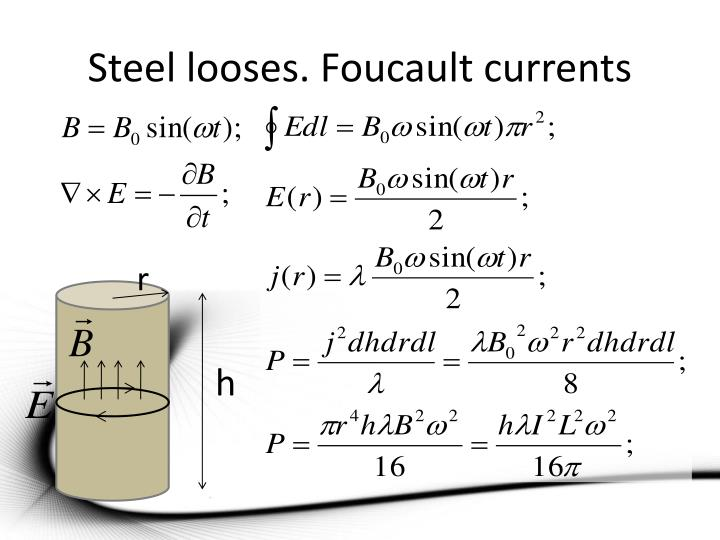 Steel looses. Foucault currents
