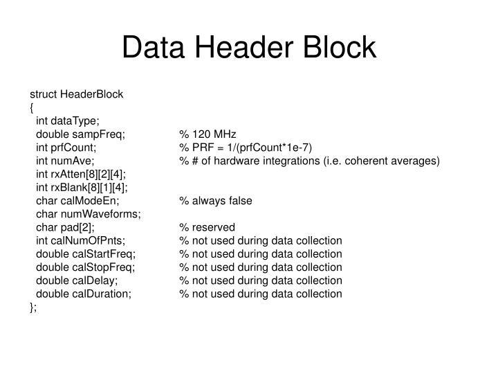 Data header block