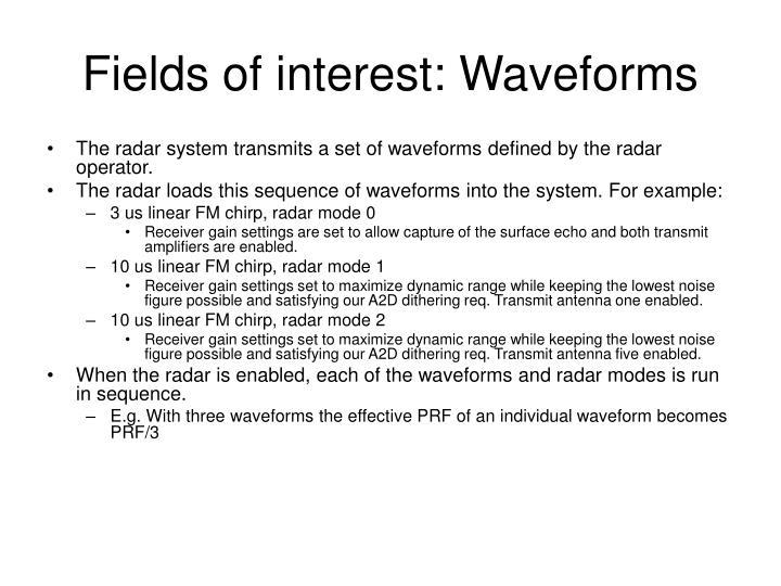 Fields of interest: Waveforms