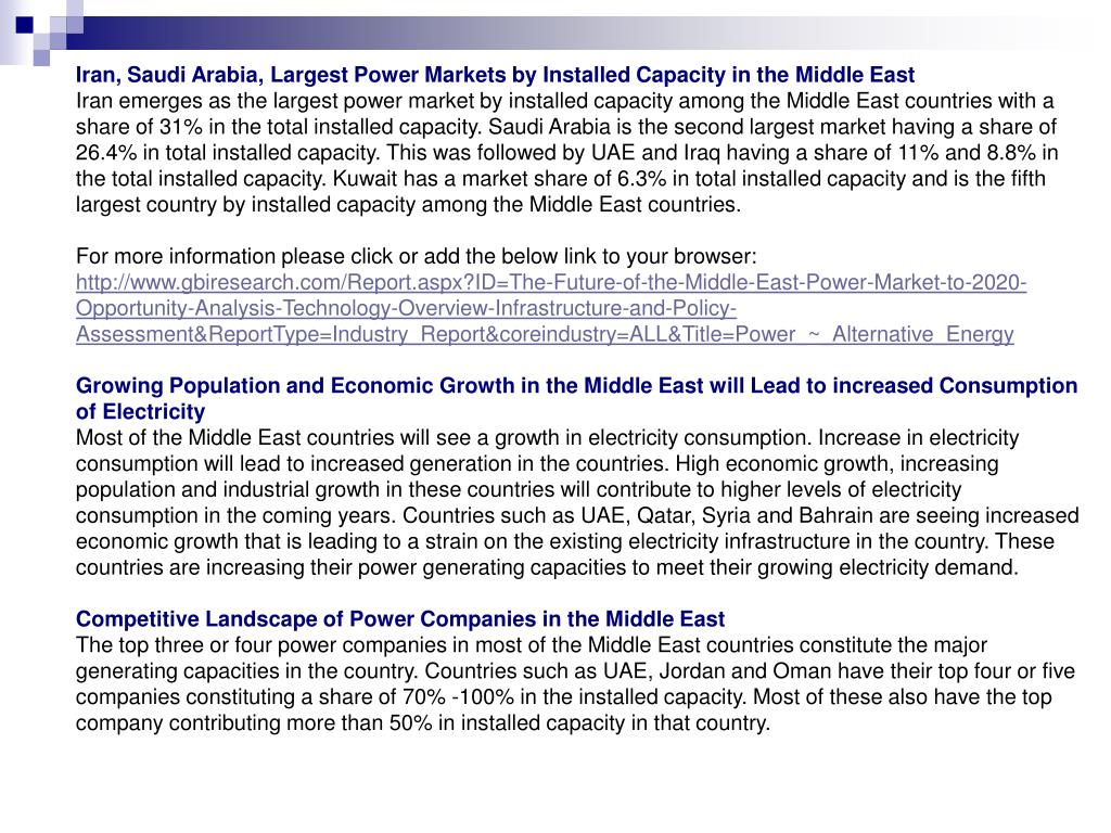 Iran, Saudi Arabia, Largest Power Markets by Installed Capacity in the