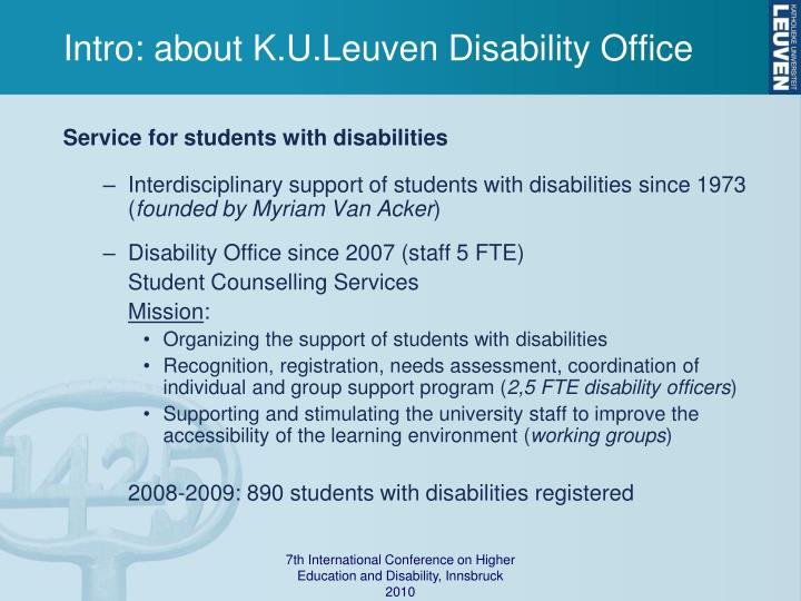 Intro: about K.U.Leuven Disability Office