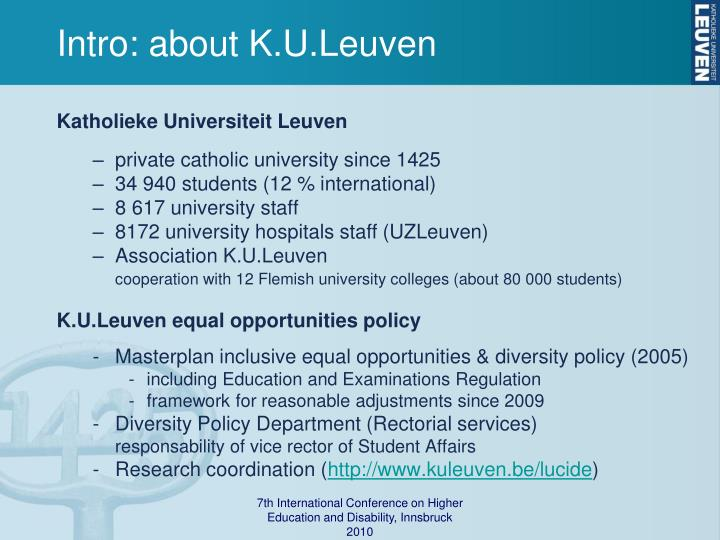 Intro: about K.U.Leuven
