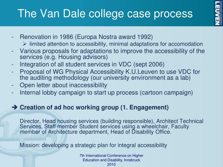 The Van Dale college case process
