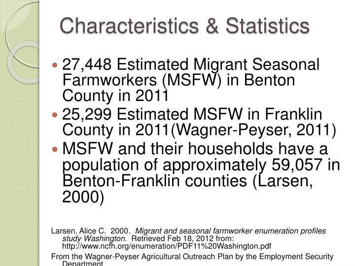 Characteristics statistics