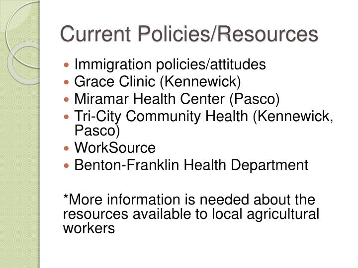 Current Policies/Resources