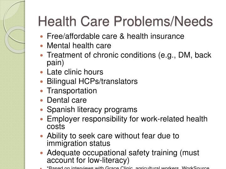 Health Care Problems/Needs
