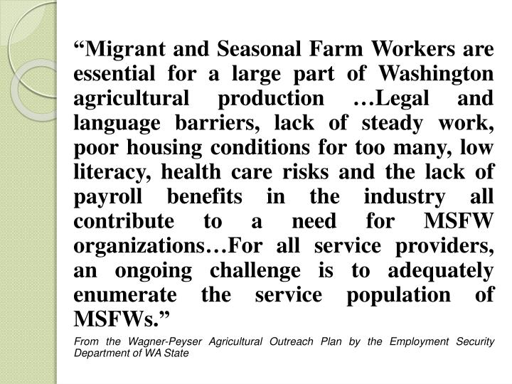 """""""Migrant and Seasonal Farm Workers are essential for a large part of Washington agricultural production …Legal and language barriers, lack of steady work, poor housing conditions for too many, low literacy, health care risks and the lack of payroll benefits in the industry all contribute to a need for MSFW organizations…For all service providers, an ongoing challenge is to adequately enumerate the service population of MSFWs."""""""