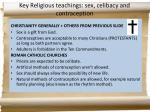 key religious teachings sex celibacy and contraception1