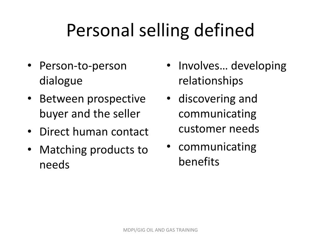 PPT - PERSONAL SELLING AND CUSTOMER CARE IN OIL & GAS INDUSTRY