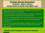 christian miracle rhetorolect in mark jesus heals a man who is mute and deaf cont