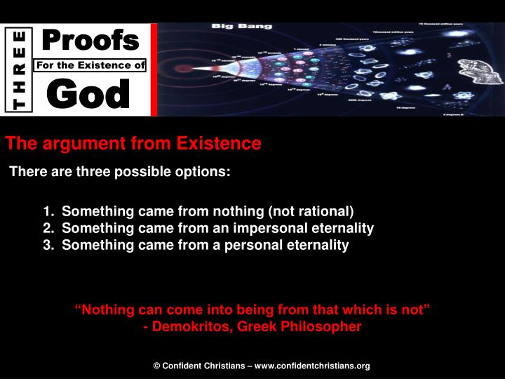 The argument from Existence