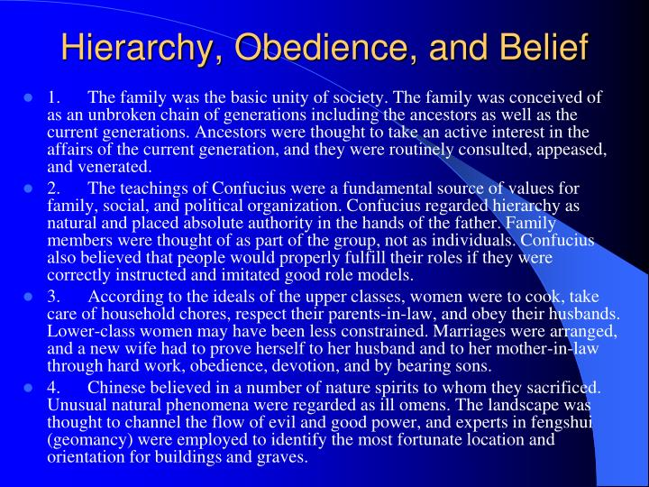 Hierarchy, Obedience, and Belief