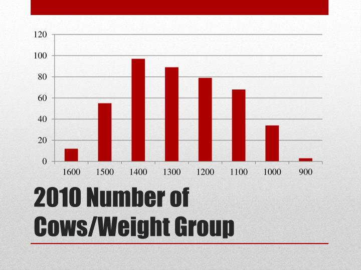 2010 Number of Cows/Weight Group