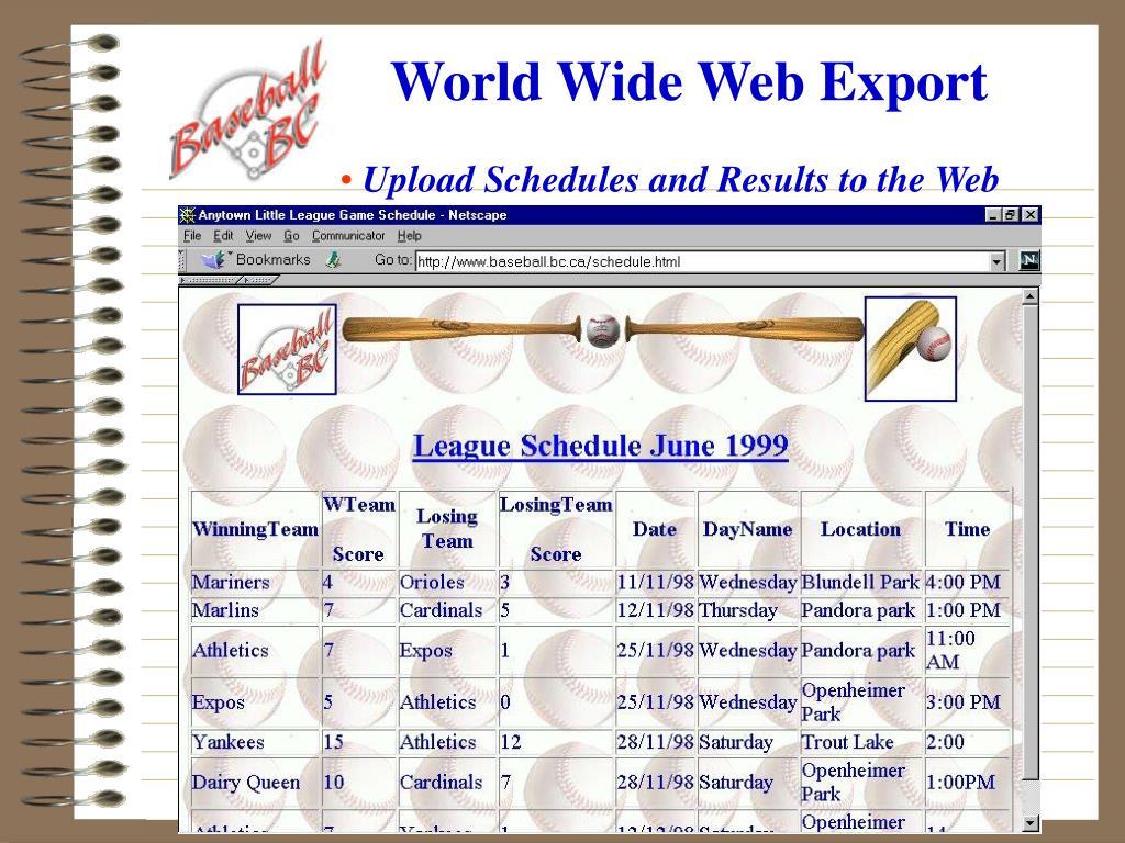 World Wide Web Export