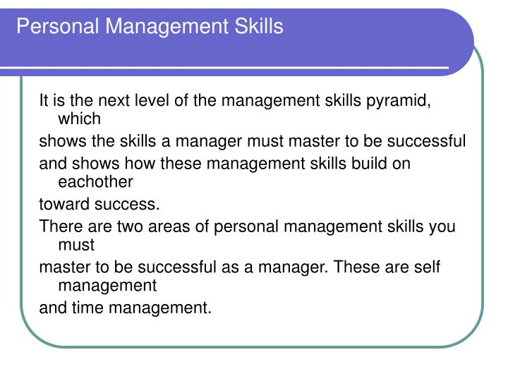 Personal Management Skills