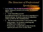 the structure of professional sports leagues
