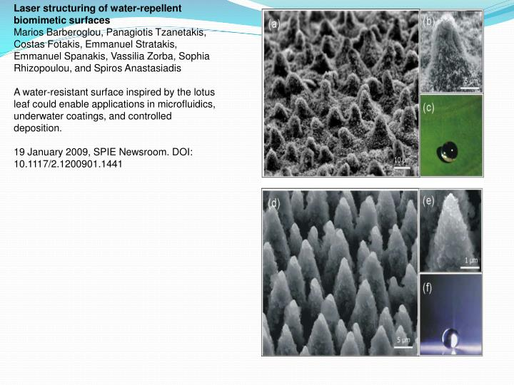 Laser structuring of water-repellent biomimetic surfaces