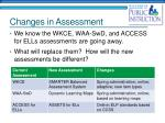 changes in assessment