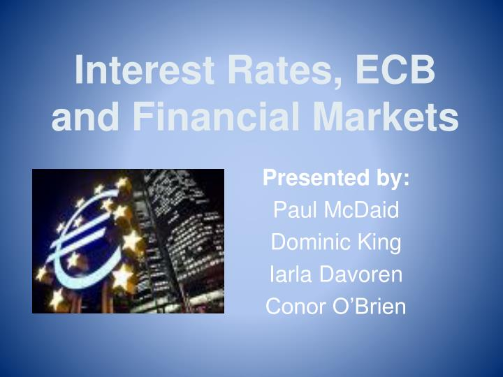interest rates ecb and financial markets n.
