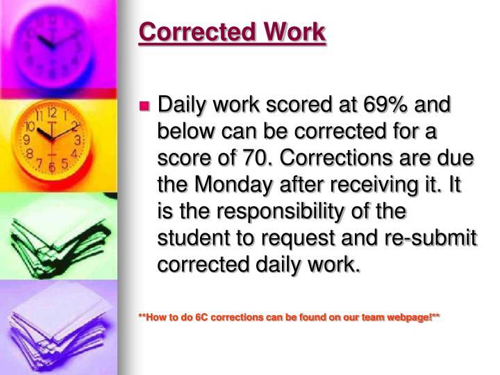 Corrected Work