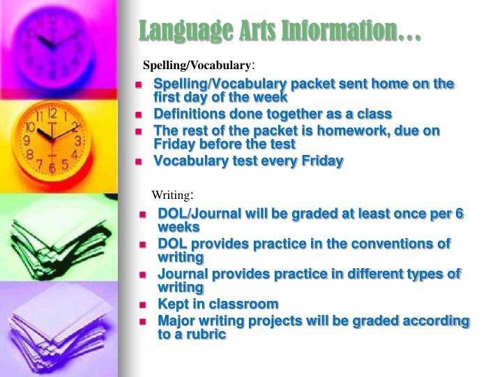 Language Arts Information…