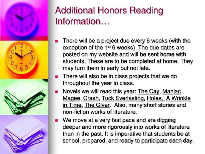 Additional Honors Reading Information…