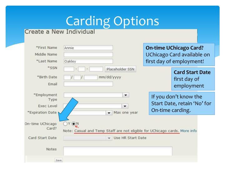 Carding Options
