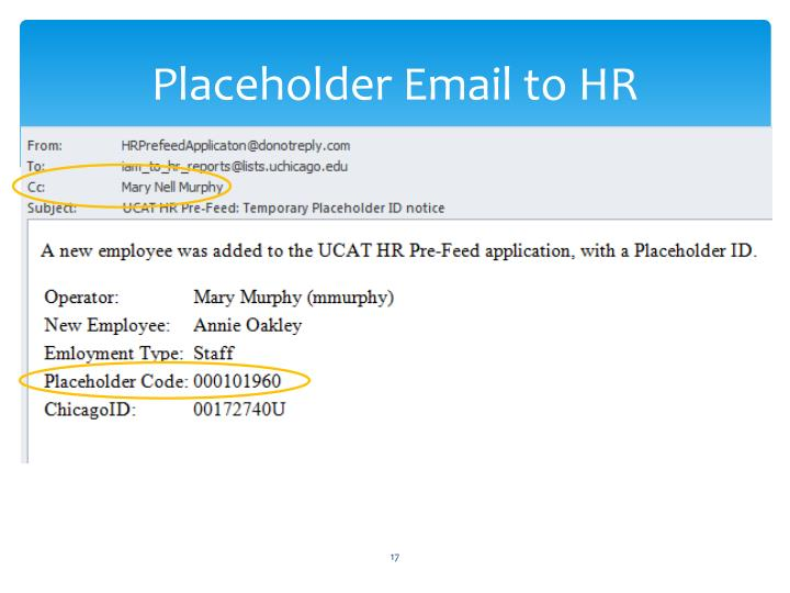 Placeholder Email to HR