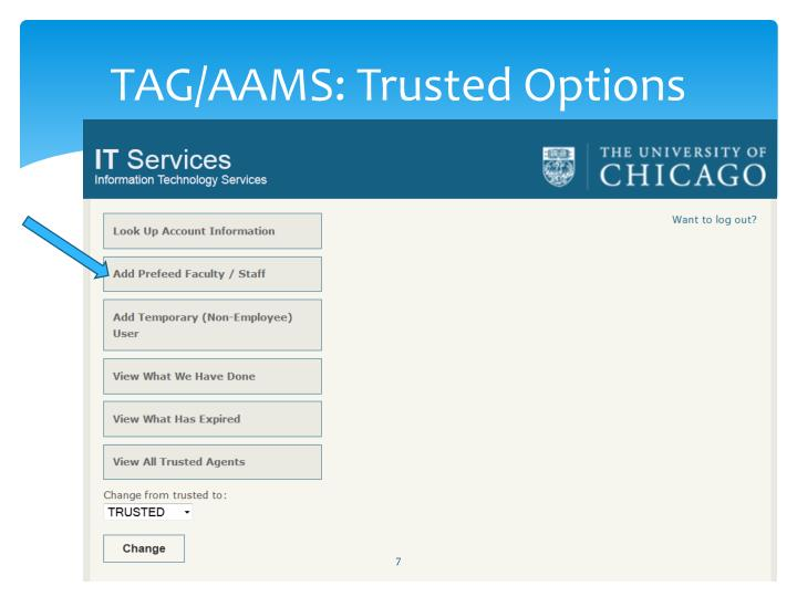 TAG/AAMS: Trusted Options