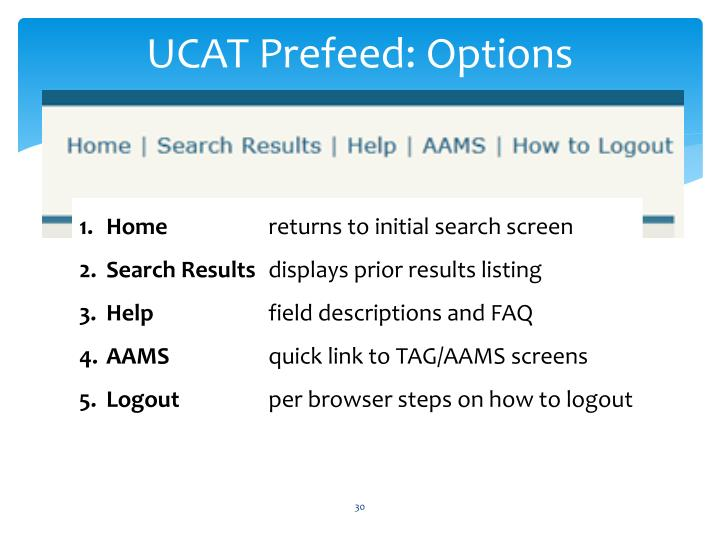 UCAT Prefeed: Options