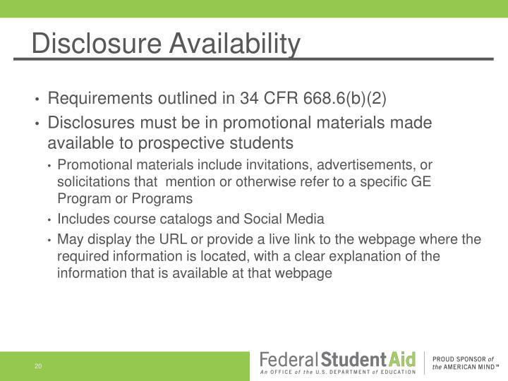 Disclosure Availability