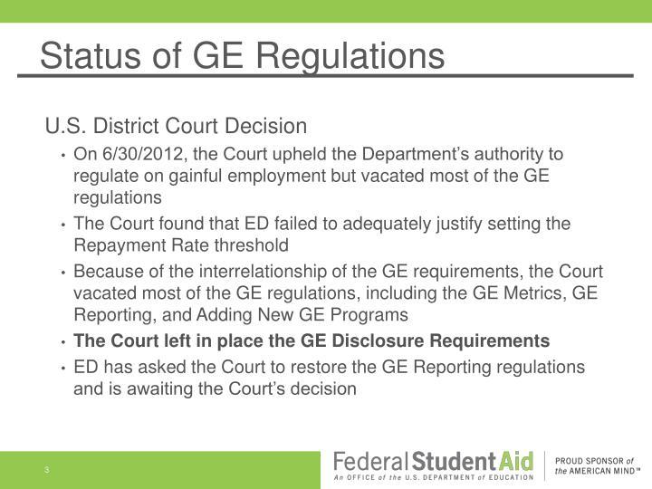 Status of ge regulations
