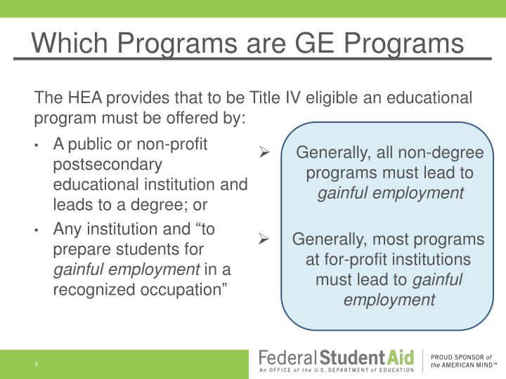 Which Programs are GE Programs