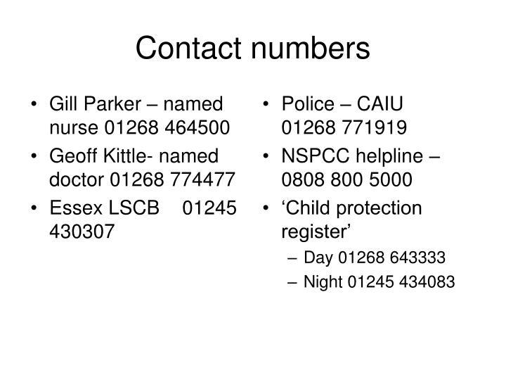 Gill Parker – named nurse 01268 464500