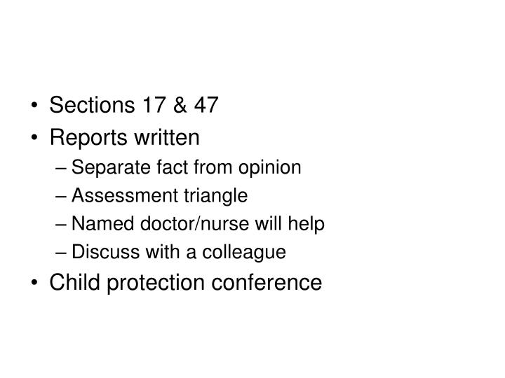 Sections 17 & 47