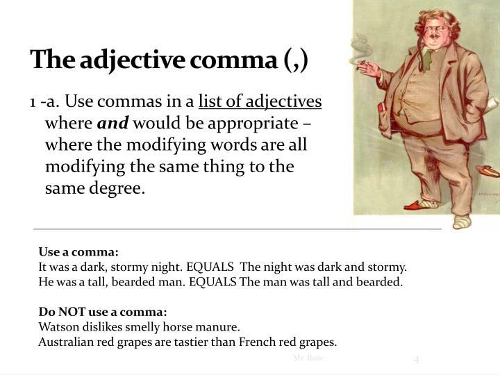 The adjective comma