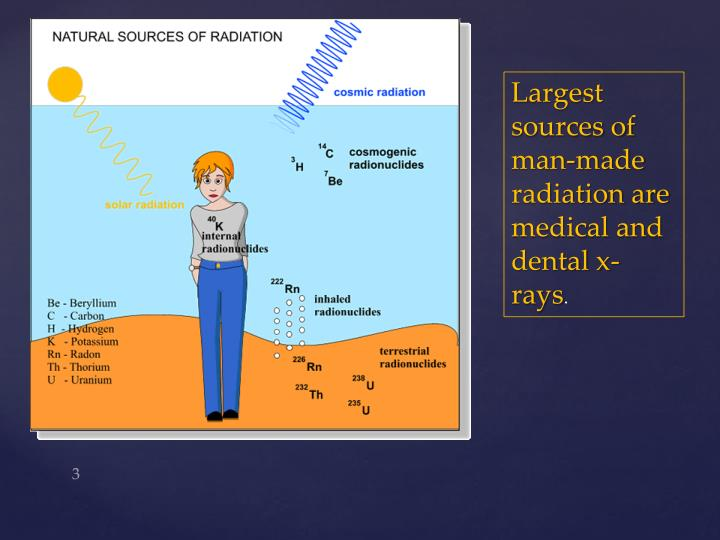 Largest sources of man-made radiation are medical and dental x-rays