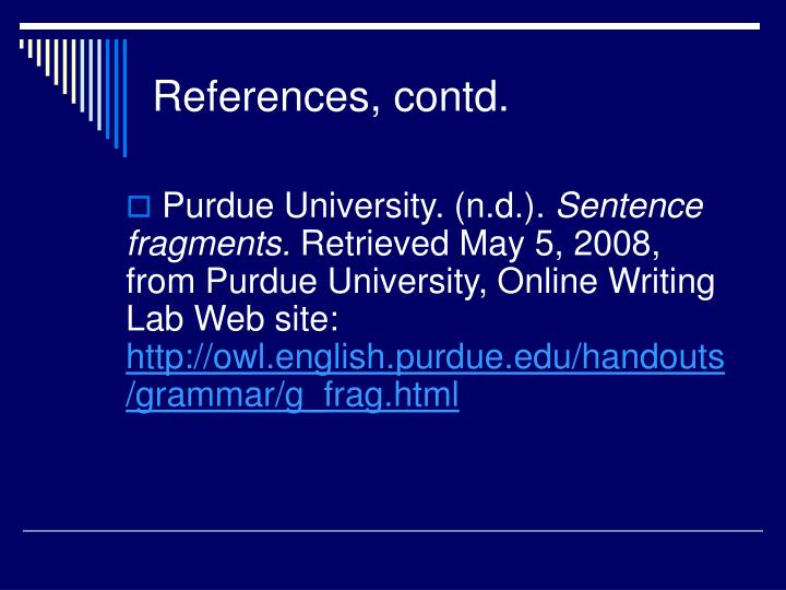 References, contd.